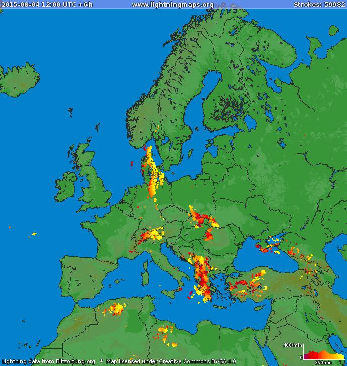 Blitze in Europa