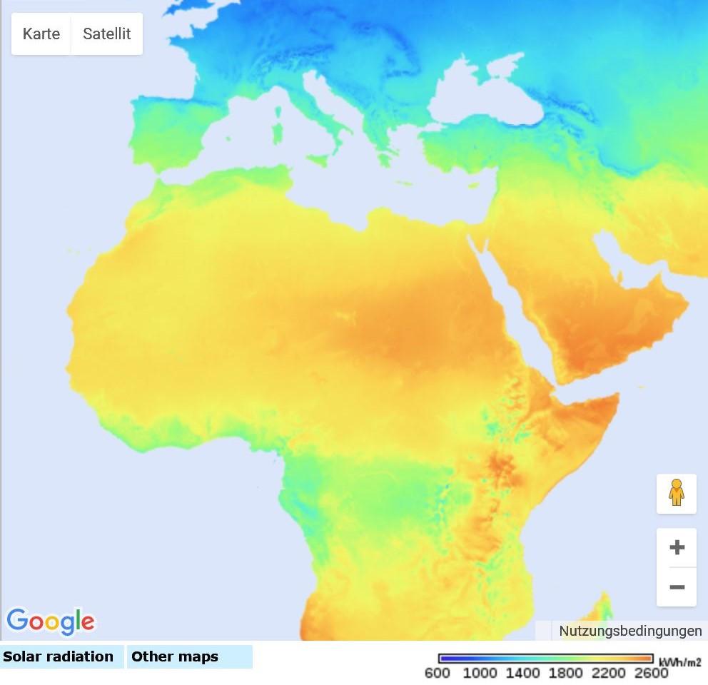 PVGIS Jährliche Solarstrahlung Afrika