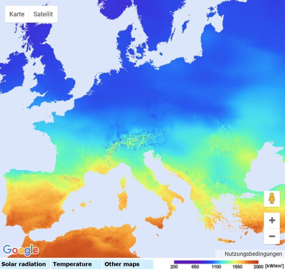 PVGIS Jährliche Solarstrahlung Europe