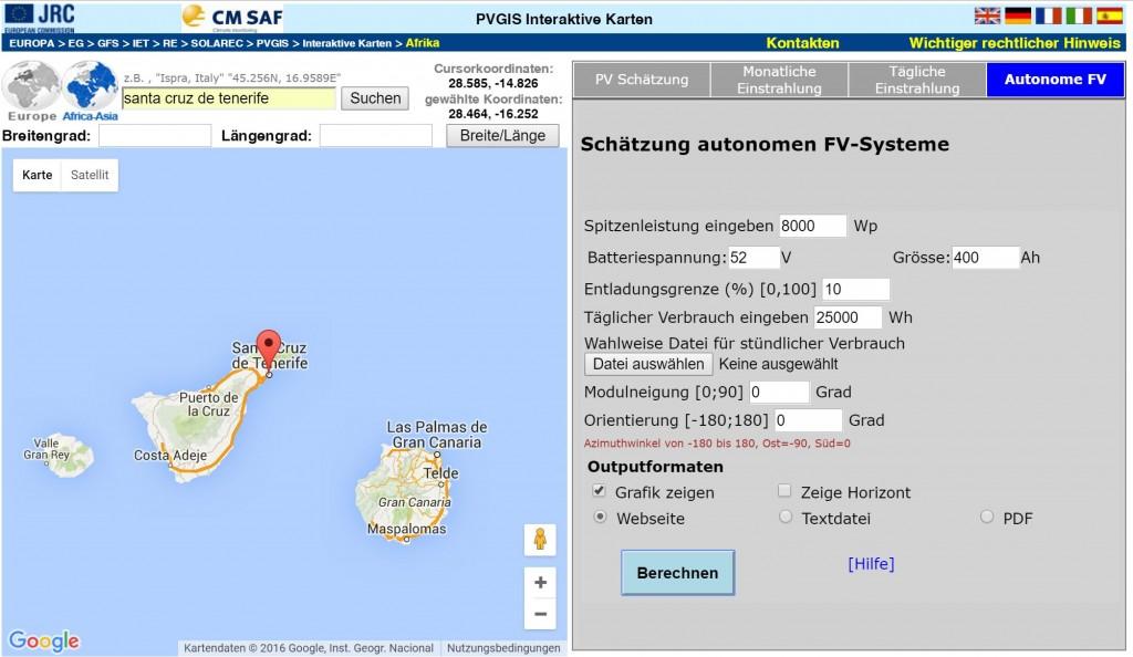 PVGIS SolarWave in ES Santa Cruz de Tenerife - Parameter